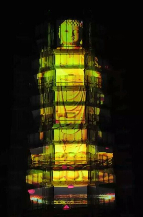 Snowite Projection Screen on the Colored Glaze Pagoda of Nanjing Grand Gratitude Temple